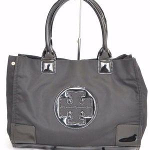 Tory Burch Ella Black Nylon/Patent Leather Tote